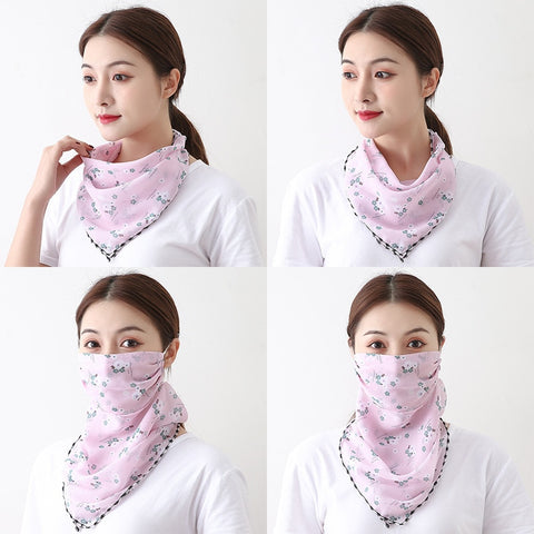 Image of Summer Outdoor Sunscreen Mask Chiffon Neck Scarf