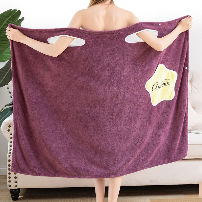 Absorbent comfortable bath skirt-wearable