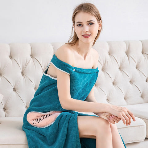 Image of Absorbent comfortable bath skirt-wearable