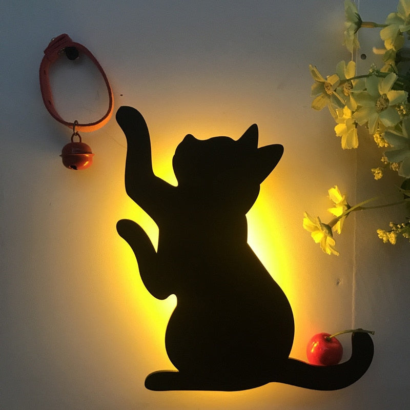 LED Animal Shape Cats Lamps Wall Lamp - full