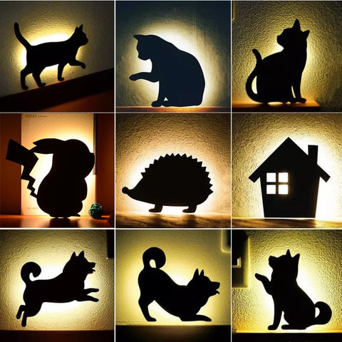 Image of LED Animal Shape Cats Lamps Wall Lamp - full