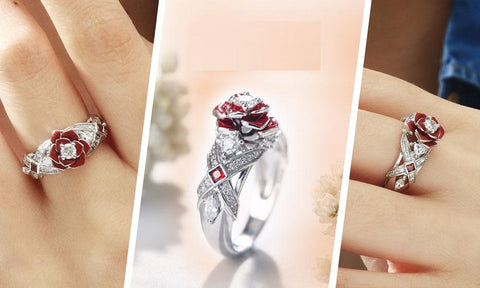 Image of Rose Flower Engagement Ring Rose Promise Rings For Her Purple Rose Flower Design - full