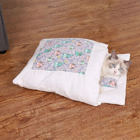 Image of Cats Winter Bed Warm Sleeping Bag Small Pet Bed Pet Product