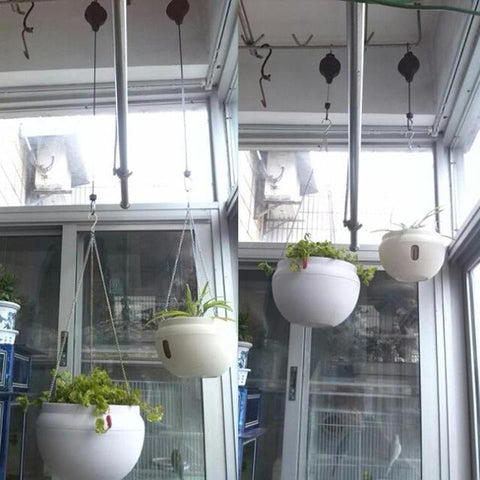 Image of Retractable Pulley Plant Pots Hanging Pull Down Hanger - full