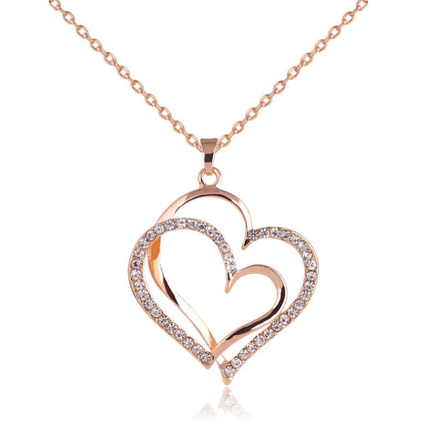 Image of To my Love Double Heart Pendant,jewelry heart necklaces|Zirconia CZ