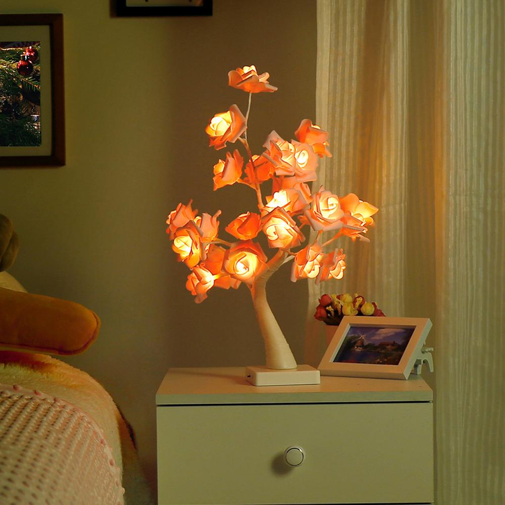 Rose Desk Lamp,24 LED Light|Table Lamps Tree