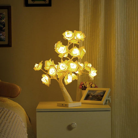 Image of Rose Desk Lamp,24 LED Light|Table Lamps Tree