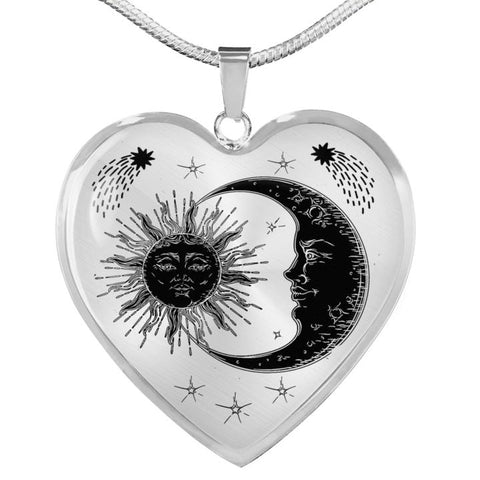 Image of Heart Necklace Sun & Moon USA Made - full