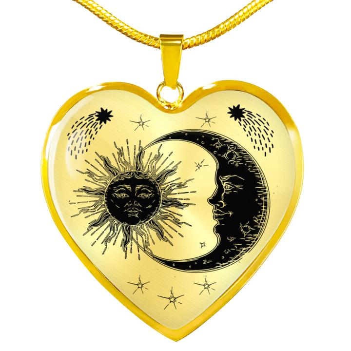 Heart Necklace Sun & Moon USA Made - full
