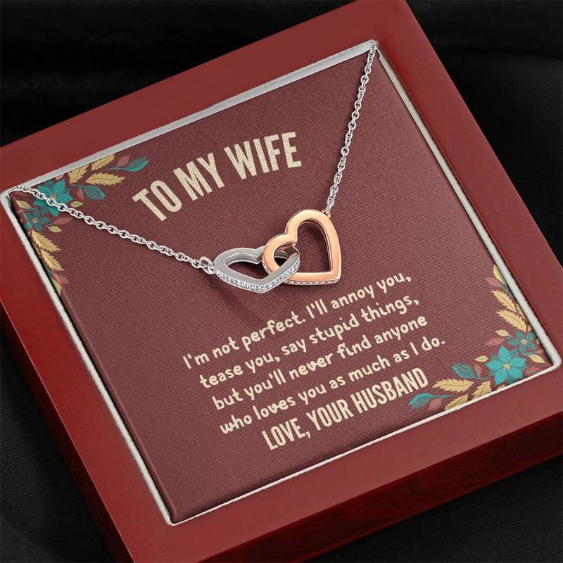 "HUSBAND TO WIFE - ""I'M NOT PERFECT"" INTERLOCKING HEARTS 3D NECKLACE"