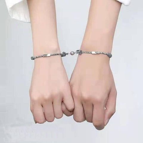 Image of Matching Bracelets For Couples Custom Engraved Magnetic 2Pcs