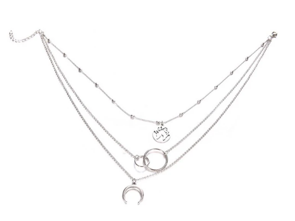 Layered Silver Necklace,Silver Moon