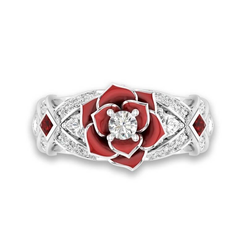 Rose Flower Engagement Ring Rose Promise Rings For Her Purple Rose Flower Design - full