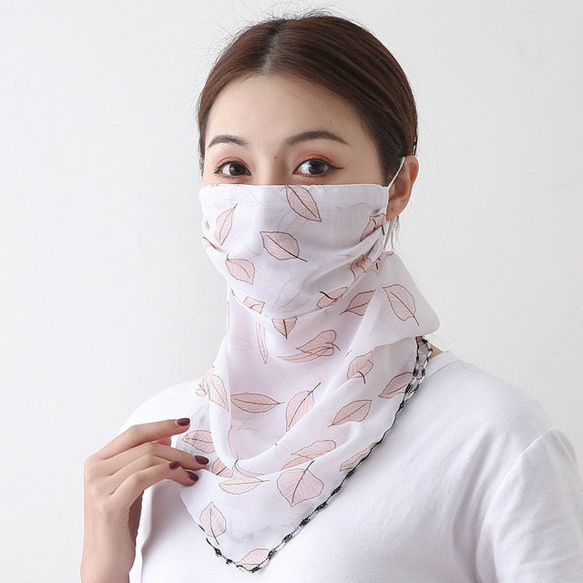 Summer Outdoor Sunscreen Mask Chiffon Neck Scarf
