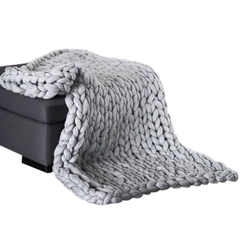 Image of Chunky Knitted Blanket, Braided Throw|Comfy Blankets|Cuddling Blanket