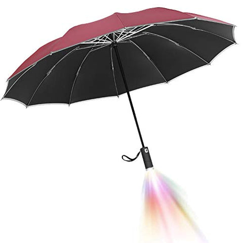 Image of Umbrella With Reflective Stripe Led Inverted with Lamp