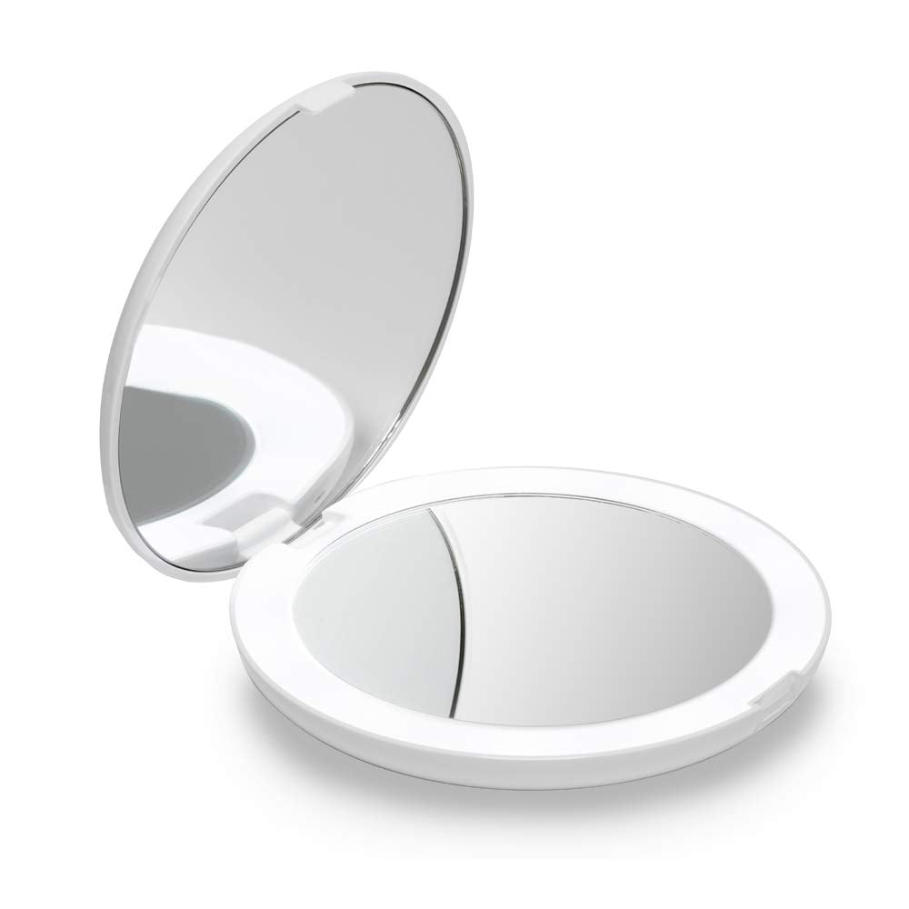 mirror with LED, Travel Makeup Mirror|Hand-held,Fold Mirrors
