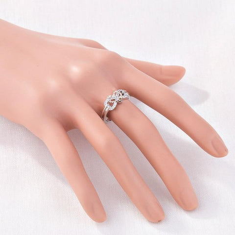 Image of Love Heart Infinity Rings Wedding Engagement Ring - full