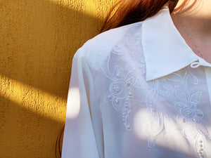 Vintage Blouse - White Beaded