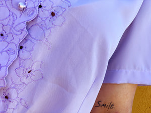 Vintage Lilac Embroidered Blouse
