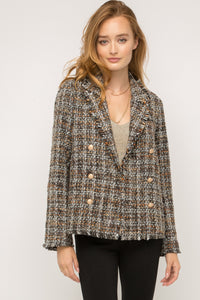 Frayed Hem Tweed Blazer