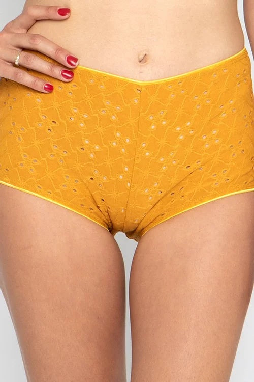 High-Waisted Brief - Mustard Eyelet