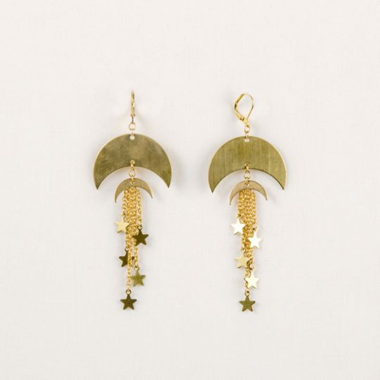 Double Moon and Star Earring