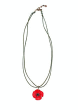 Load image into Gallery viewer, Red Poppy Necklace with Leather Cord