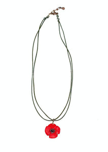 Red Poppy Necklace with Leather Cord