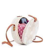 Load image into Gallery viewer, White Delight Rattan Bag