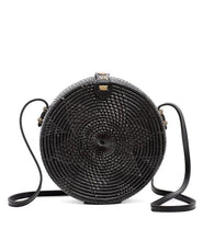 Load image into Gallery viewer, Black Sling Rattan Bag