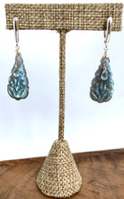 Load image into Gallery viewer, Carved Labradorite & Blue Topaz Earrings