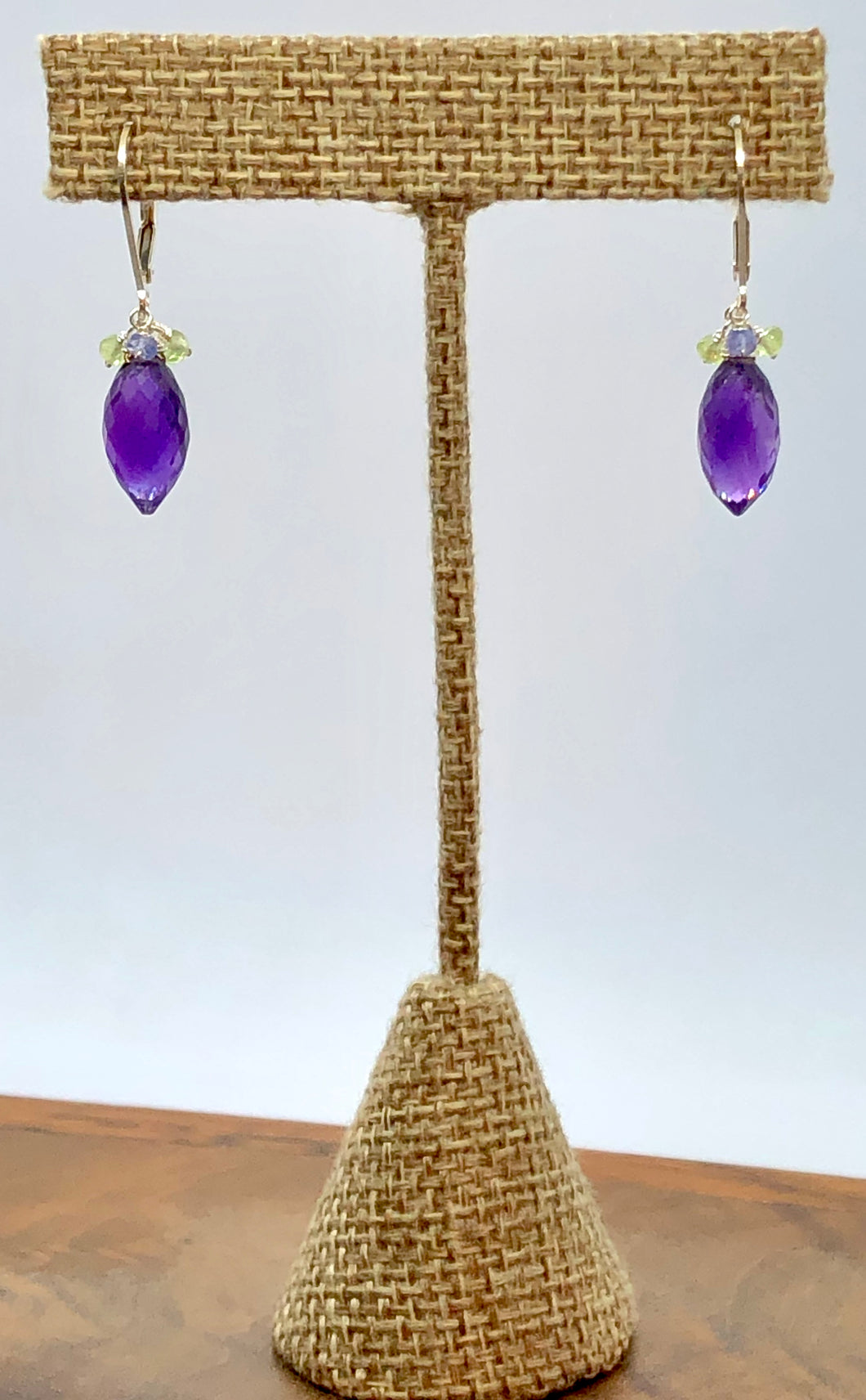 Amethyst, Peridot & Tanzanite Earrings