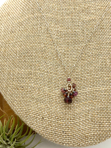 Garnet, Tourmaline and Sapphire Drop Necklace