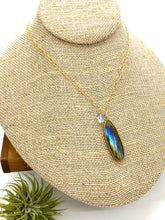 Load image into Gallery viewer, Labradorite and Aquamarine Statement Drop Necklace