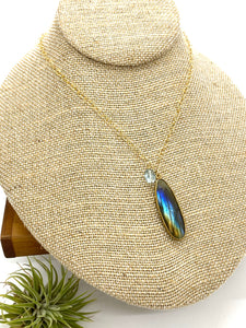 Labradorite and Aquamarine Statement Drop Necklace