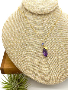 Amethyst and Coin Charm Necklace
