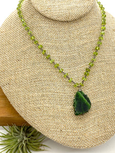Chrome Diopside and Peridot Statement Necklace