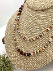 Long Quartz Mix, Amber and Sterling Silver Necklace