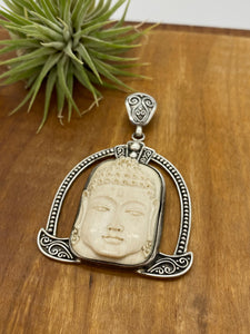 Mastodon Tusk Carved Buddha Statement Pendant