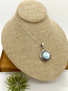 Larimar in Granulation-style Silver Pendant
