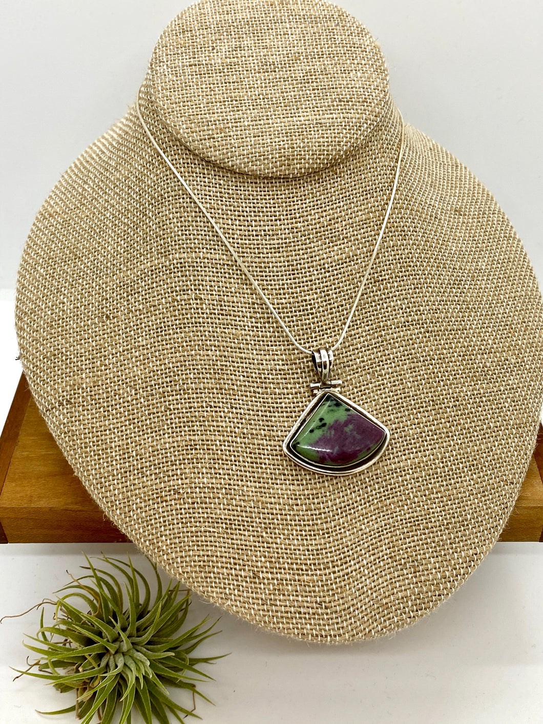 Zoisite with Ruby Fan Pendant