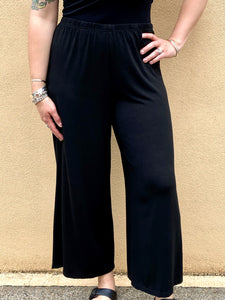 Rayon Wide-Legged Pant, Black