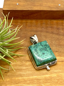 Square Chrysocolla Pendant with Sterling Silver Accent