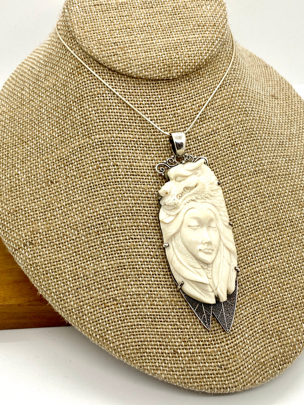 Carved Woman and Dragon Sterling Silver Pendant