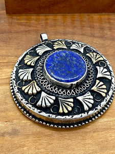 Statement Pendant Centered on Lapis and Papyrus