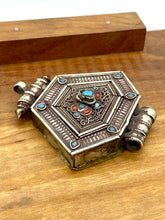 Load image into Gallery viewer, Vintage Detailed Silver Box Pendant with Blue and Red Glass
