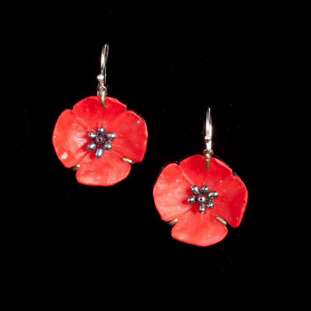 Red Poppy Wire Earrings
