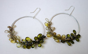 Laurel Earrings, Large, Ombre Moss