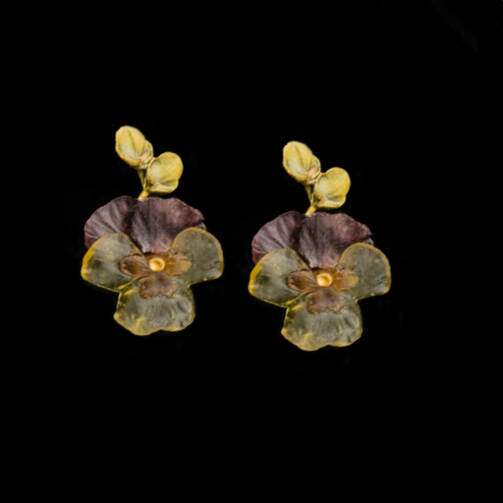 Pansies, Large Post Earrings